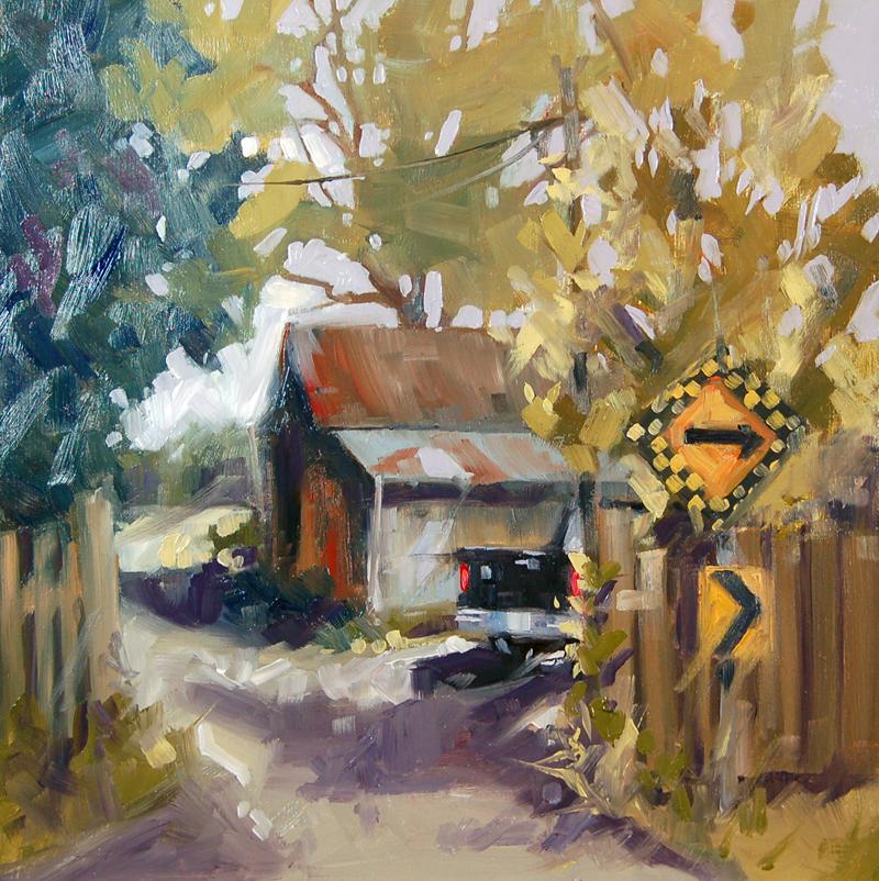"""No 357 End of the Farm Road"" original fine art by Robin J Mitchell"