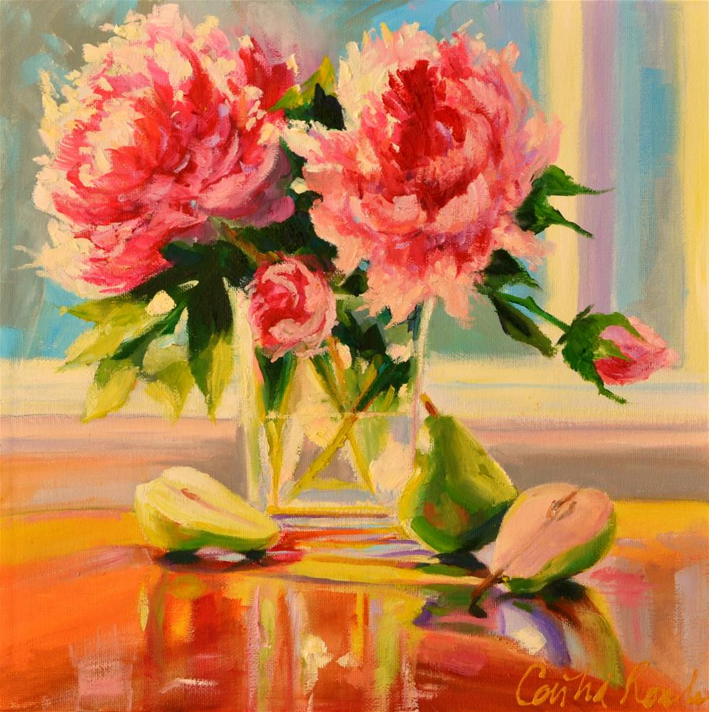 """""""PEONIES AND PEARS"""" original fine art by Cecilia Rosslee"""