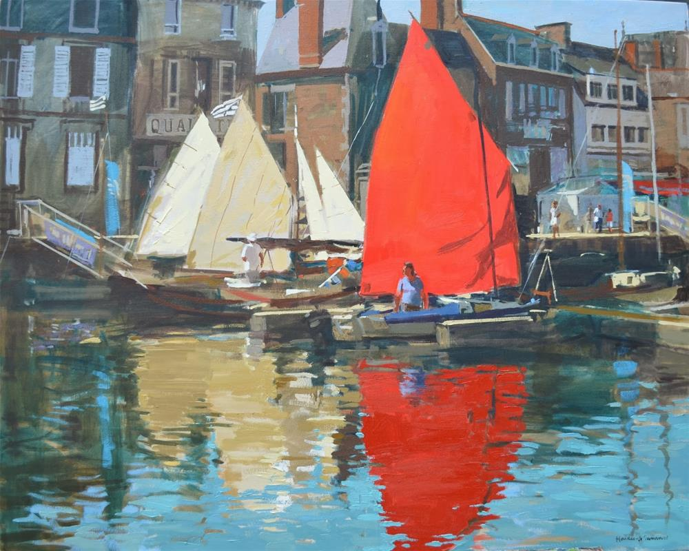 """""""Sails up in harbour, Paimpol"""" original fine art by Haidee-Jo Summers ROI"""