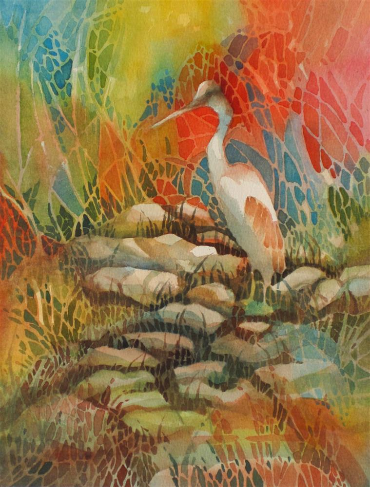 """In Search of Koi"" original fine art by Julie Crouch"
