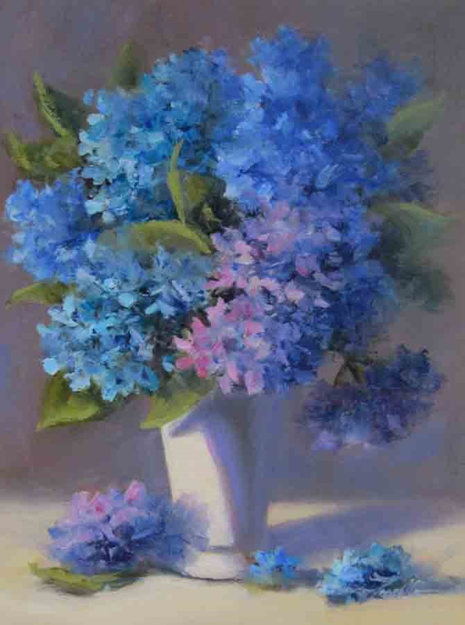 """Petal Pushers- Painting Hydrangeas in Oil Demonstration"" original fine art by Pat Fiorello"