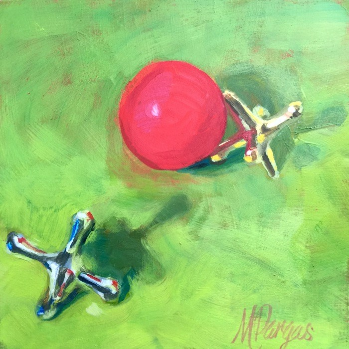 """""""Like a Red Rubber Ball"""" original fine art by Mary Pargas"""