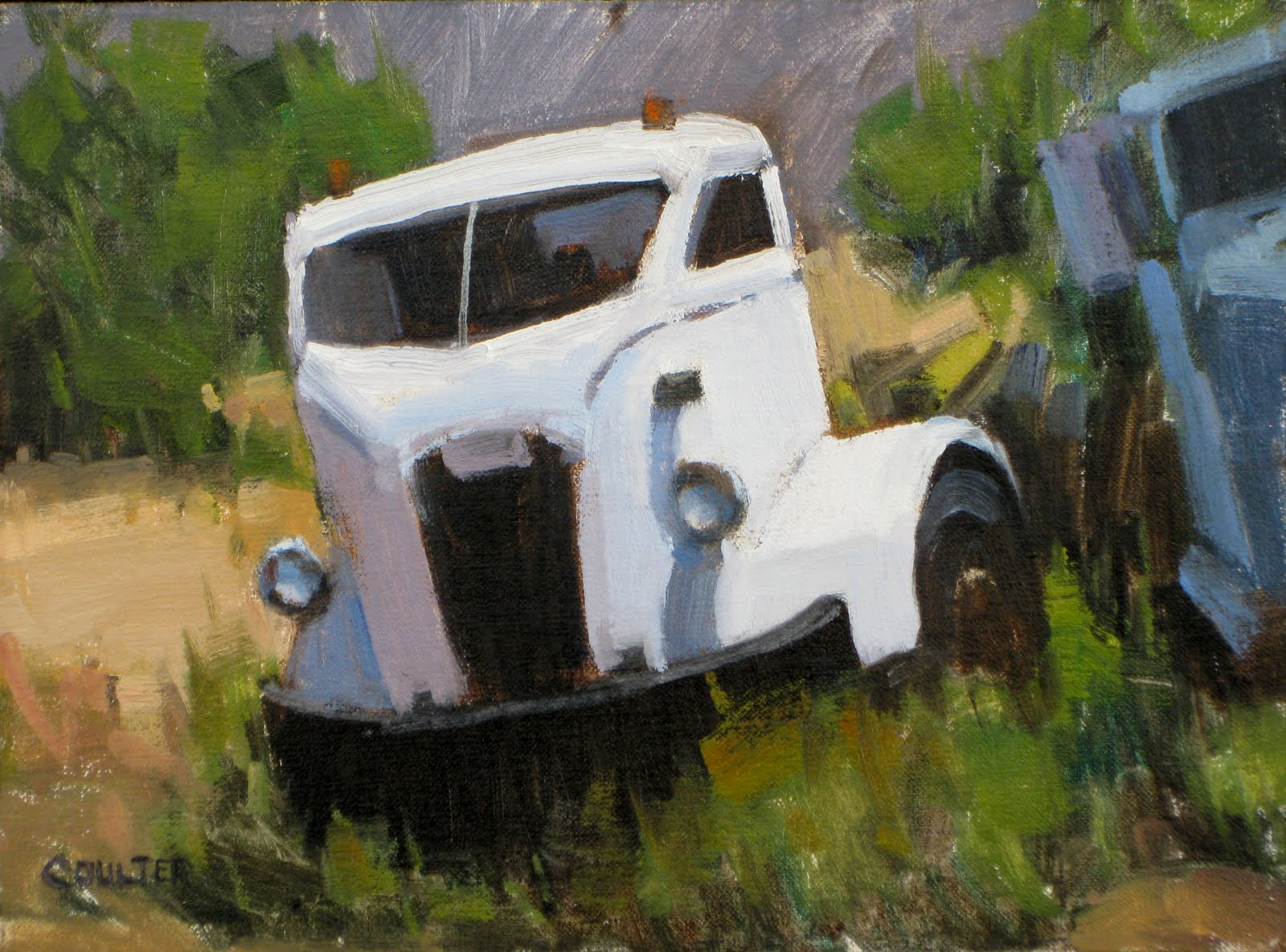 """WHITE TRUCK"" original fine art by James Coulter"