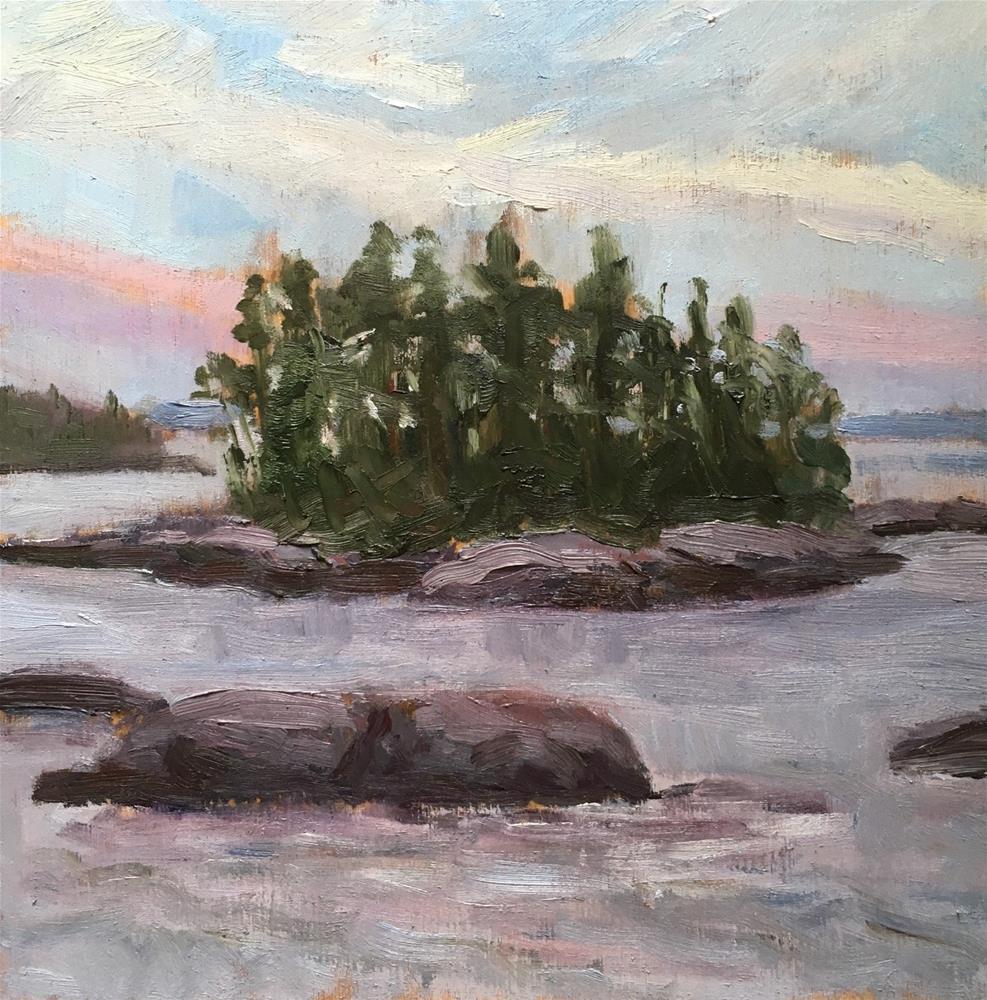 """Island at Dusk"" original fine art by Shari Goddard Shambaugh"