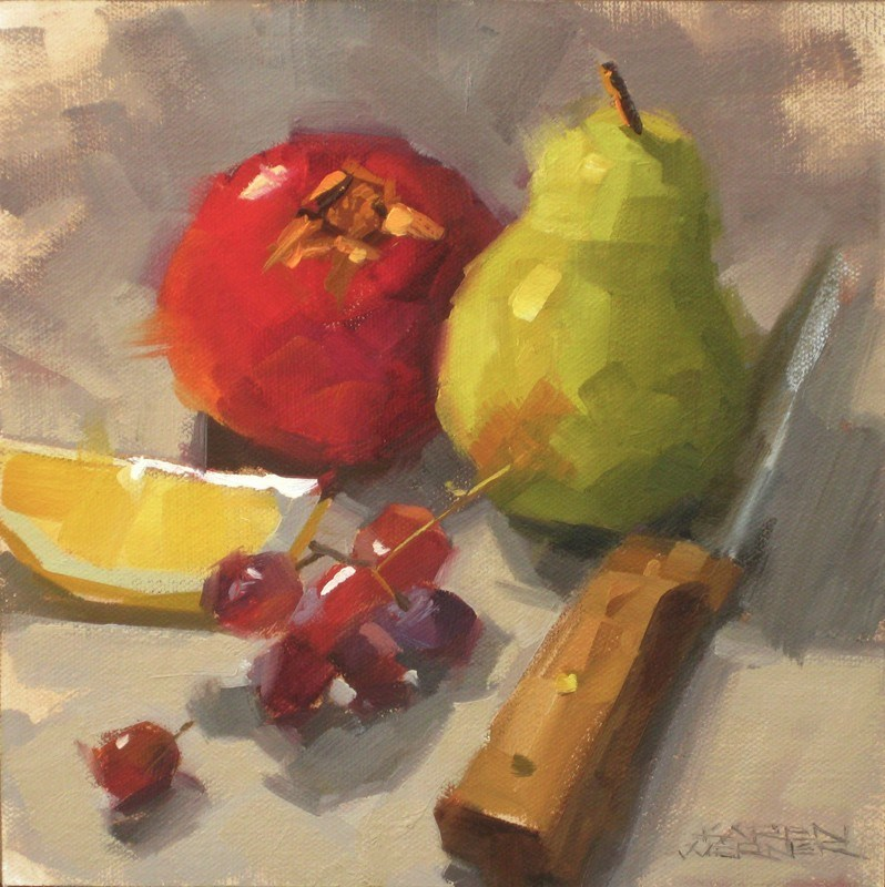 """Still Life With A Knife"" original fine art by Karen Werner"