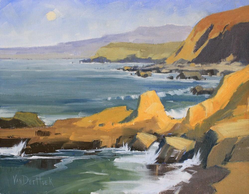 """Moon Over Bodega Bay - California Coastal Painting - Beach Painting"" original fine art by Kim VanDerHoek"
