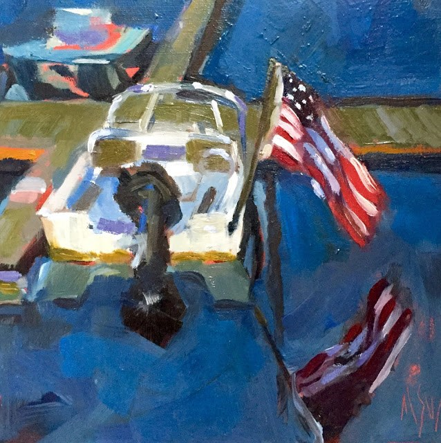 """""""Flag Reflections Painted at Scituate Harbor. All about the reflections"""" original fine art by Mary Sheehan Winn"""