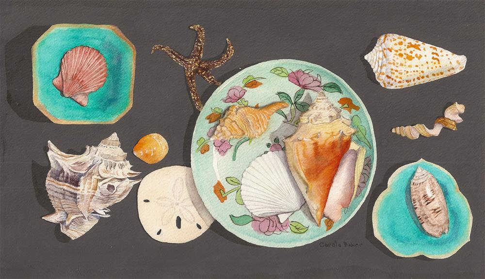 """""""Shells on Chinese Dishes"""" original fine art by Carole Baker"""