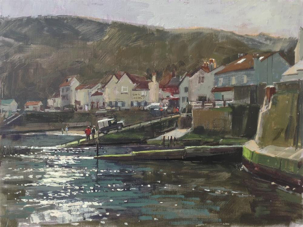 """""""Morning light at Staithes"""" original fine art by Haidee-Jo Summers ROI"""