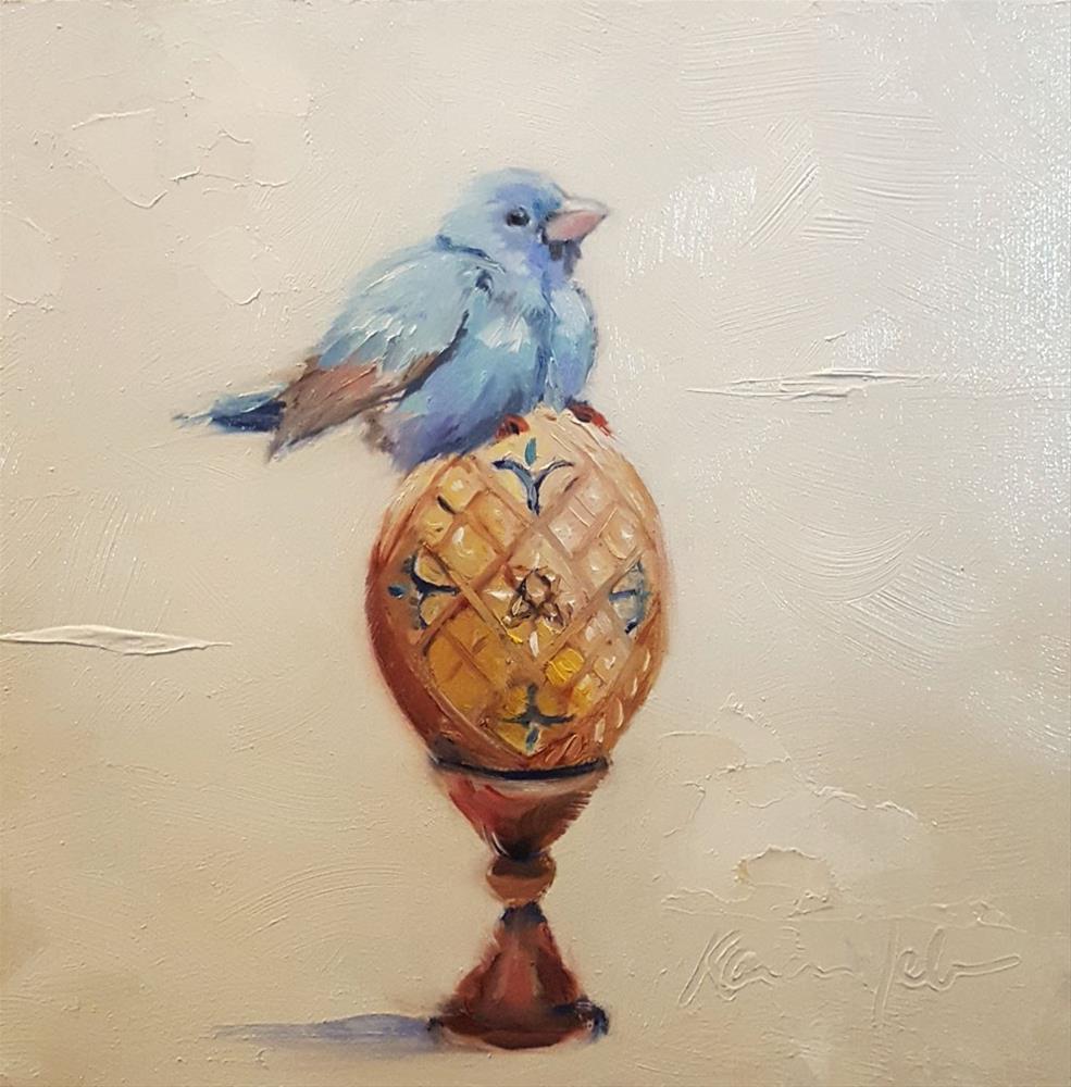 """""""Bluebird for happiness"""" original fine art by Karen Weber"""