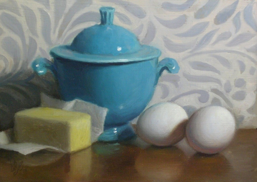 """Eggs, Butter and Sugar"" original fine art by Debra Becks Cooper"