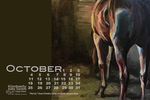 """October Desktop Calendar"" original fine art by Kimberly Santini"