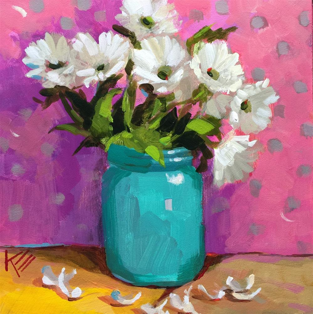 """Daisies in Turquoise Jar"" original fine art by Krista Eaton"