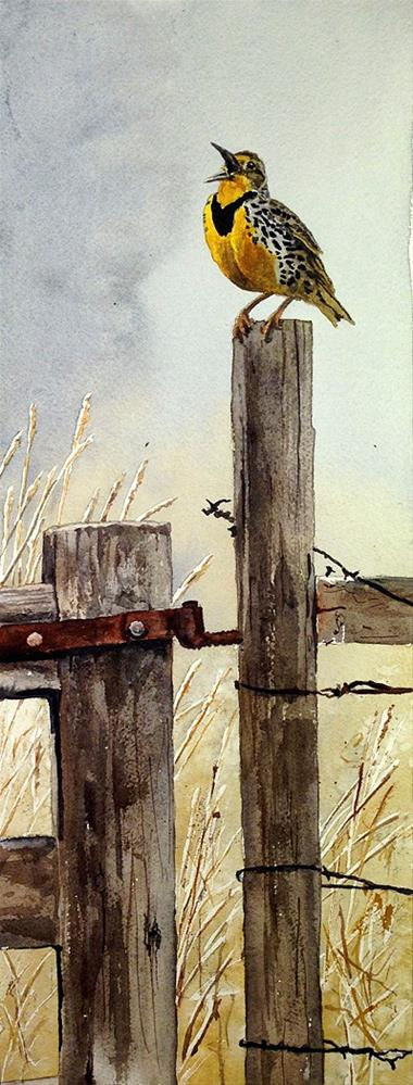 """""""M is for Meadowlark"""" original fine art by Andy Sewell"""