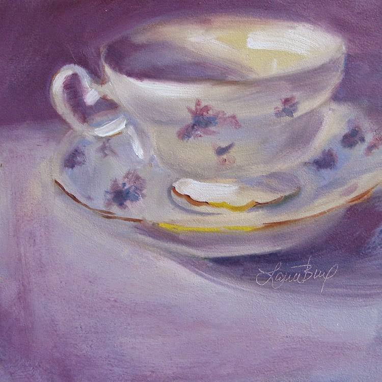 """""""Mom's Teacup with Violets 328"""" original fine art by Laura  Buxo"""