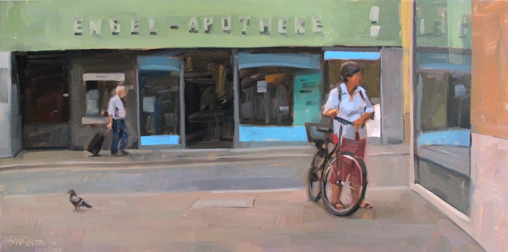 """Bird, Suitcase, Bike"" original fine art by Carol Marine"
