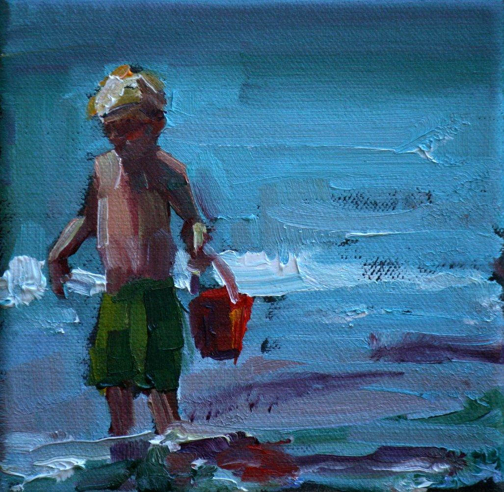 """""""red bucket"""" original fine art by Carol Carmichael"""