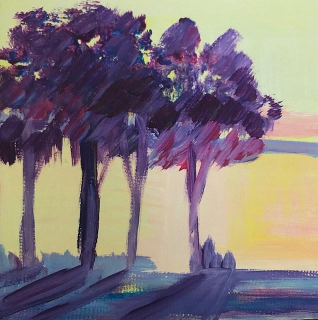 """Florida sunset in the trees"" original fine art by Angela Hansen"