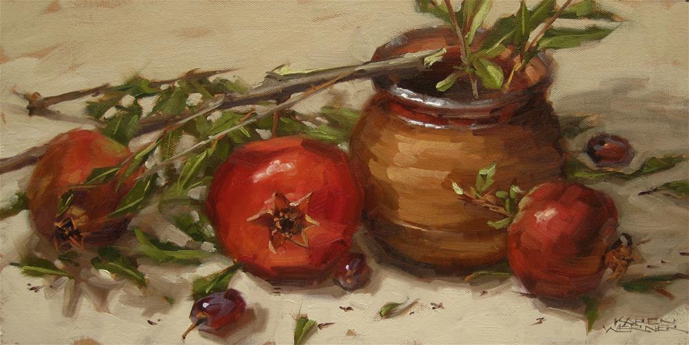"""""""Pottery And Poms"""" original fine art by Karen Werner"""
