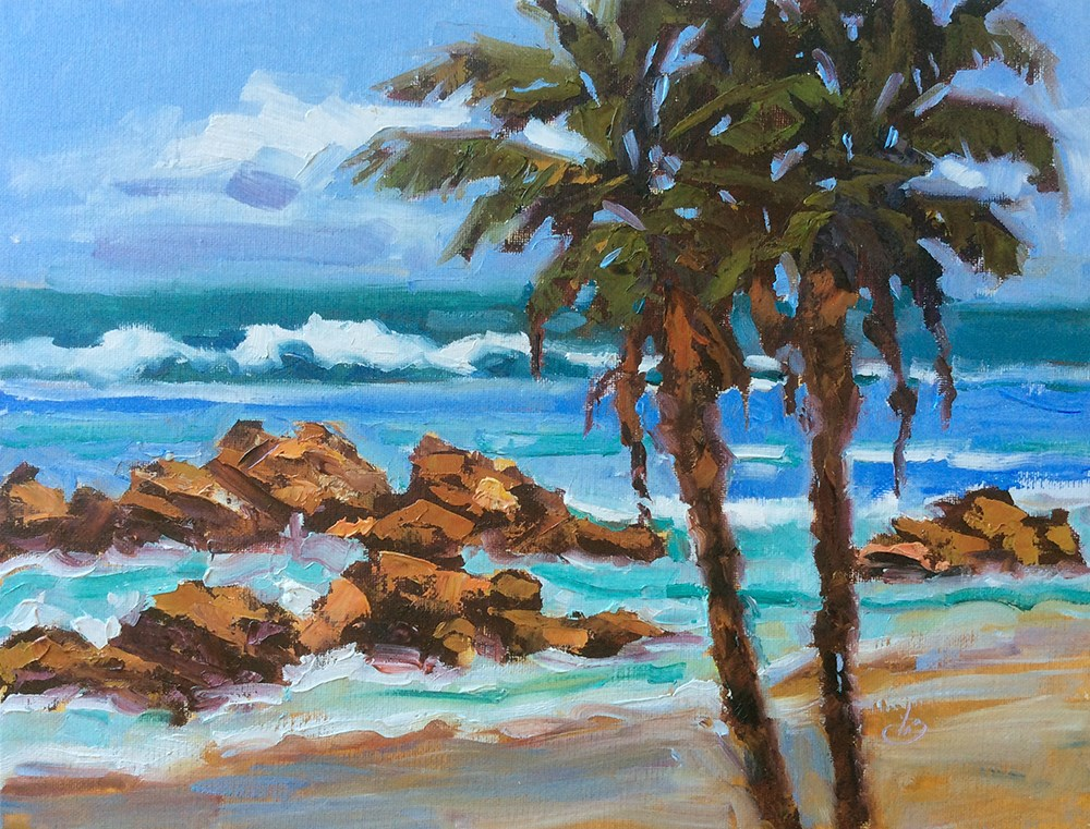 """CALIFORNIA IMPRESSIONIST COASTAL SEA SCAPE"" original fine art by Tom Brown"