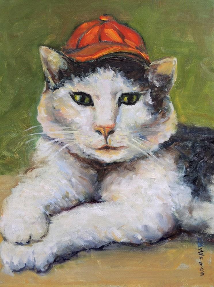 """Red Hat Cat"" original fine art by Mary Schiros"