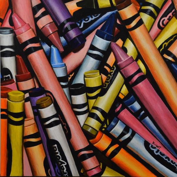 """Colorful Crayon Pile"" original fine art by Kim Testone"