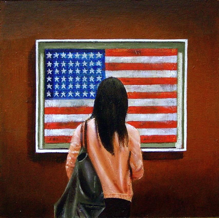 """Flag- Woman Enjoying Painting By Jasper Johns In Museum"" original fine art by Gerard Boersma"