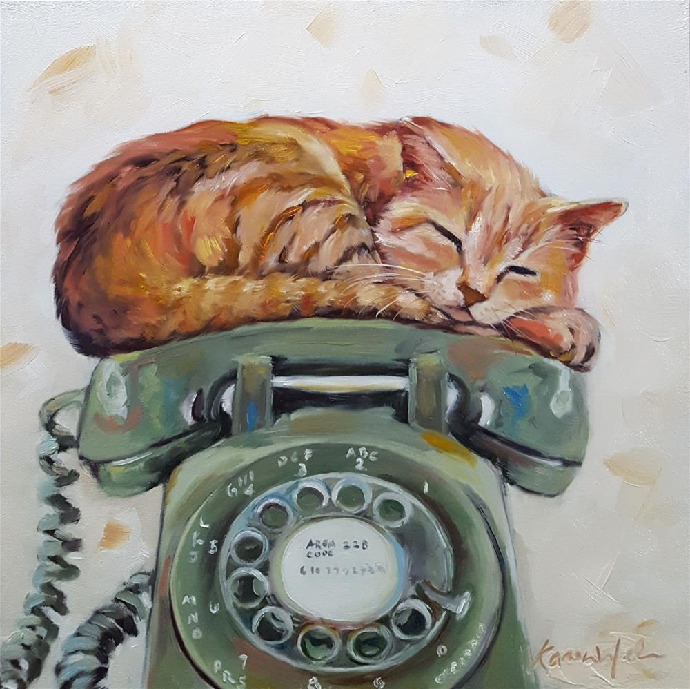 """Cat Call"" original fine art by Karen Weber"