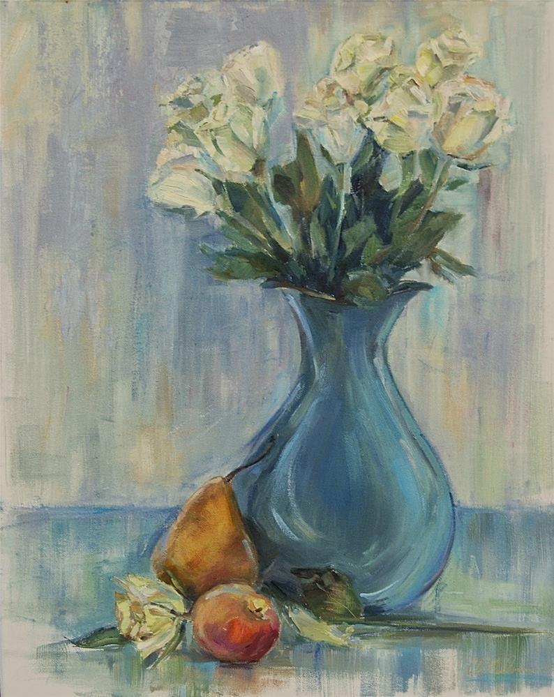 """""""White Roses, Still life Flower Arrangement, oil by Carol DeMumbrum"""" original fine art by Carol DeMumbrum"""