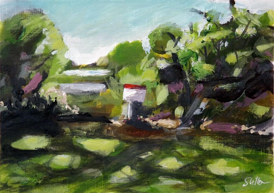 """2080 Red Dot in Green Landscape (4)"" original fine art by Dietmar Stiller"