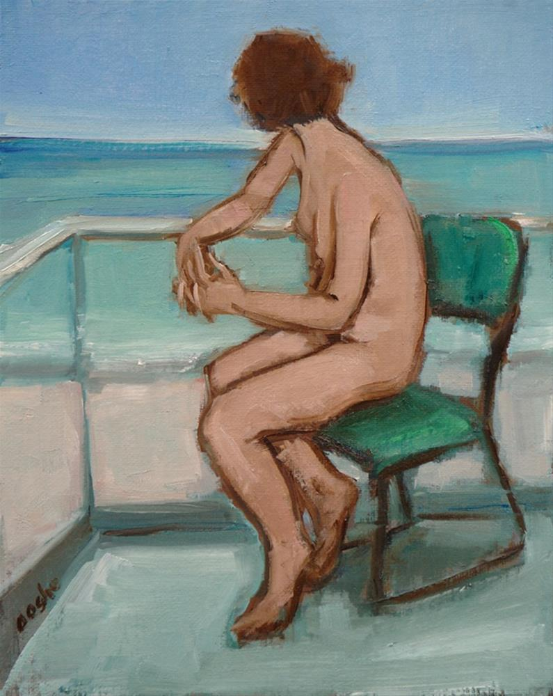 """Nude on Balcony"" original fine art by Angela Ooghe"