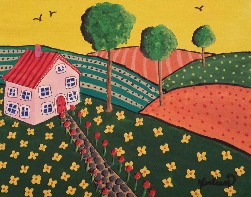 """""""Pink House in the Country"""" original fine art by Karleen Kareem"""