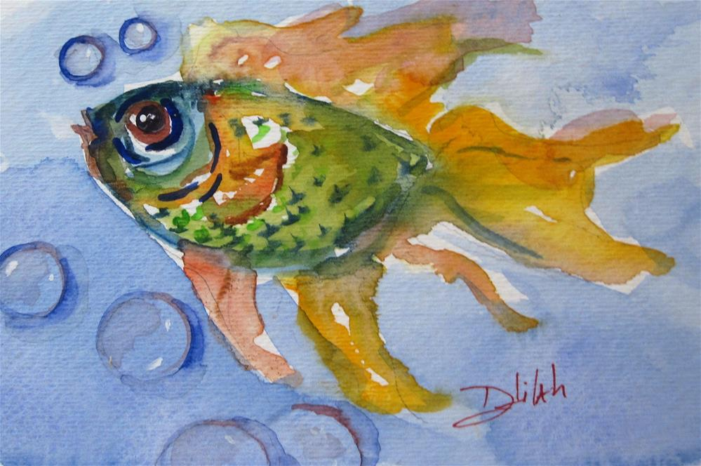 """Green Fish"" original fine art by Delilah Smith"