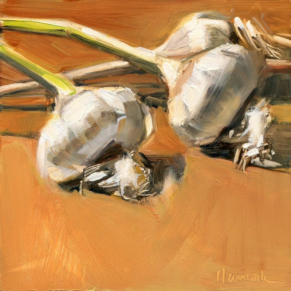 """Garlic and Stems"" original fine art by Gretchen Hancock"
