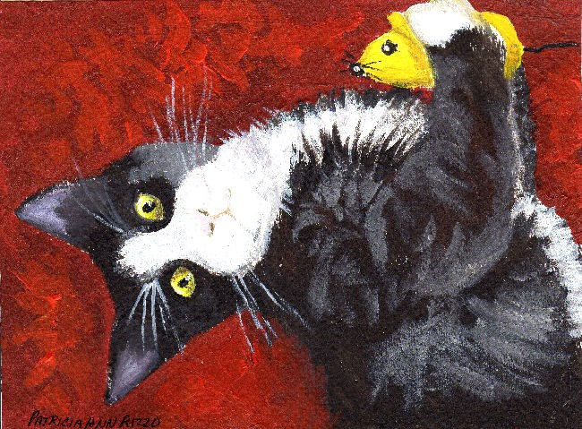 """""""Kitten with Toy Mouse"""" original fine art by Patricia Ann Rizzo"""