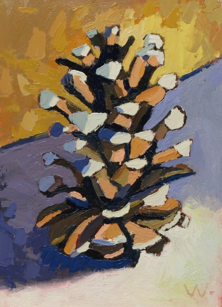 """Pine Cone"" original fine art by Joan Wiberg"