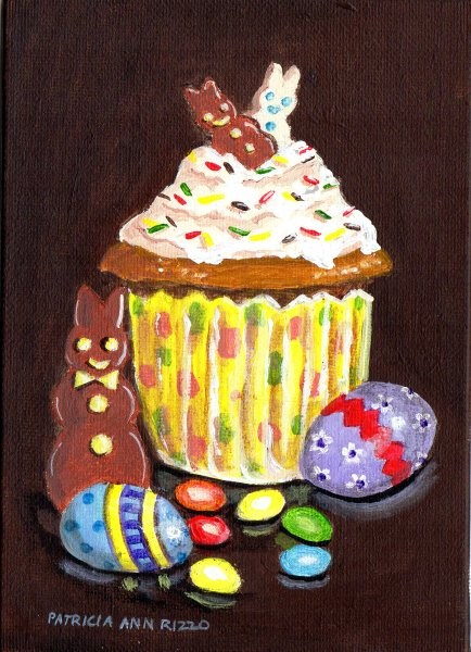"""""""Another Easter Cupcake"""" original fine art by Patricia Ann Rizzo"""