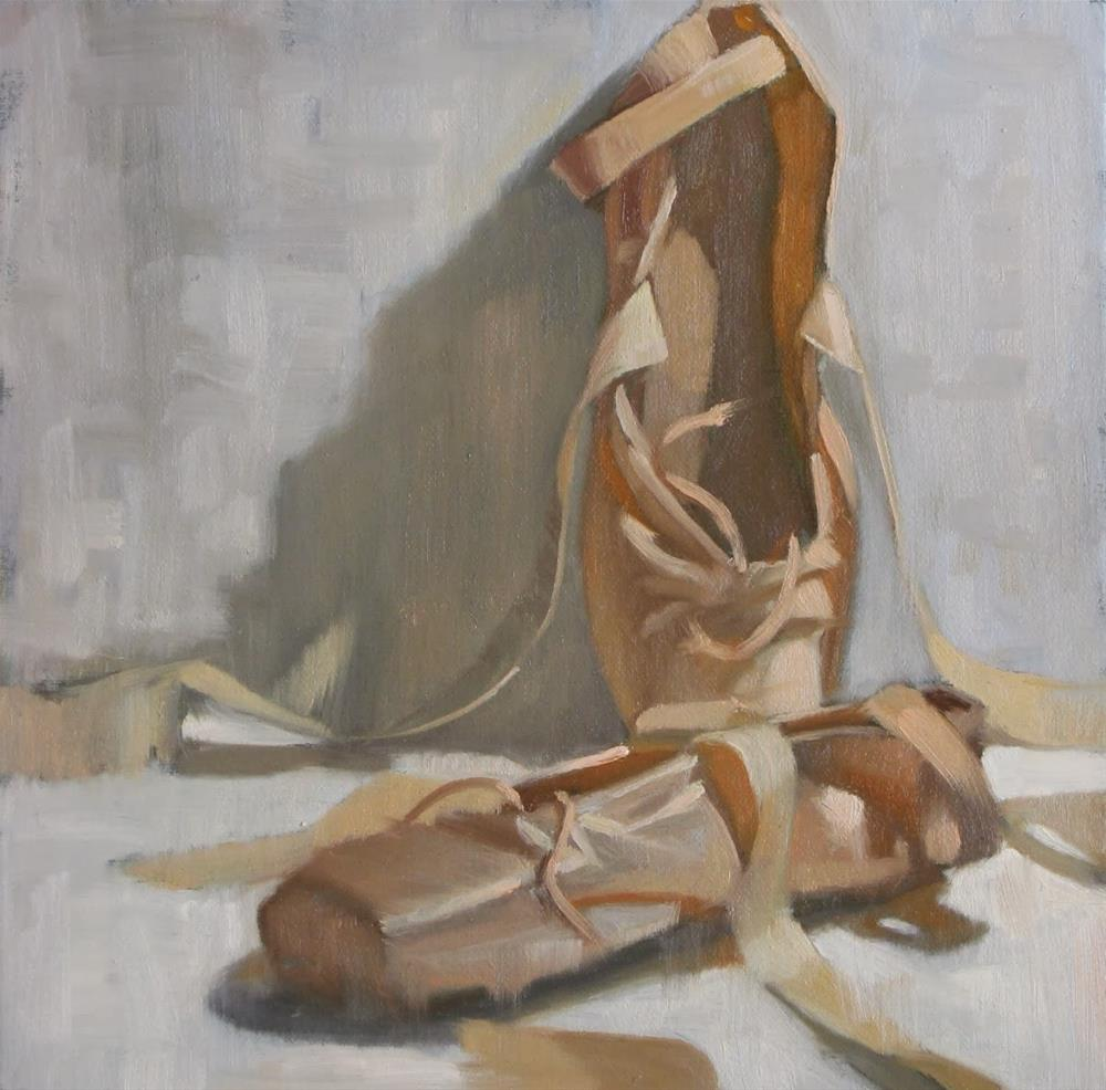 """Two ballet shoes 8x8 oil"" original fine art by Claudia Hammer"