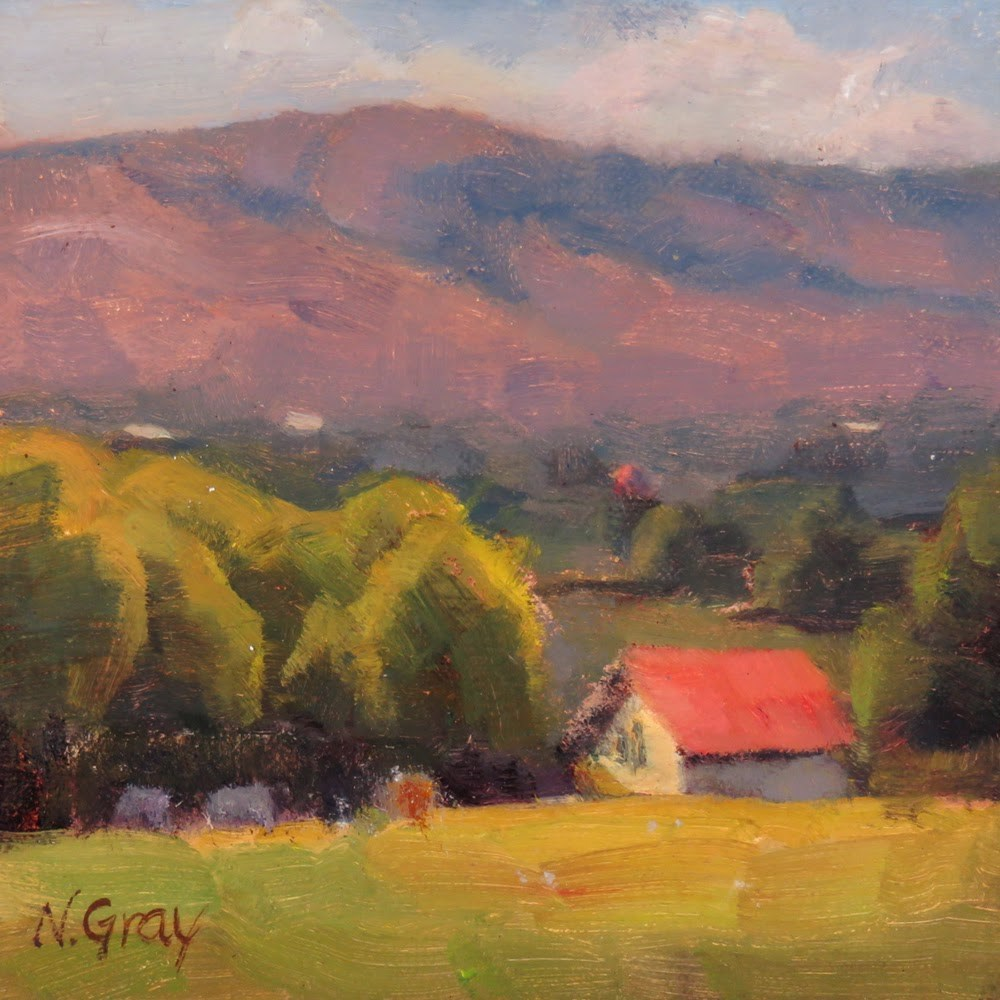 """""""House with Red Roof"""" original fine art by Naomi Gray"""