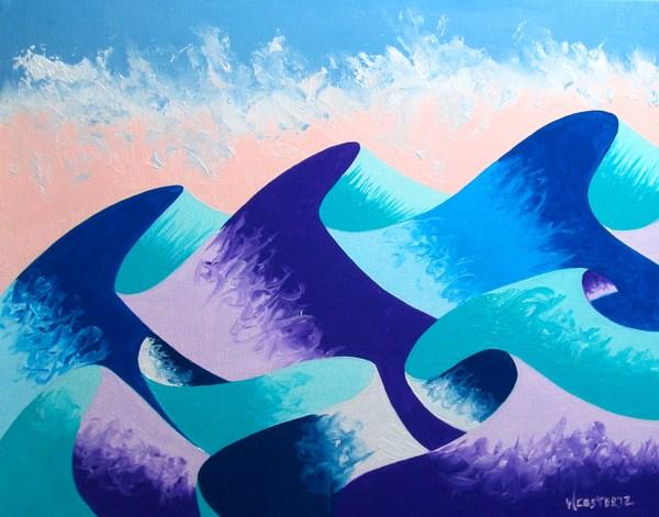 """Mark Adam Webster - Waves #4 - Abstract Geometric Ocean Landscape Oil Painting"" original fine art by Mark Webster"