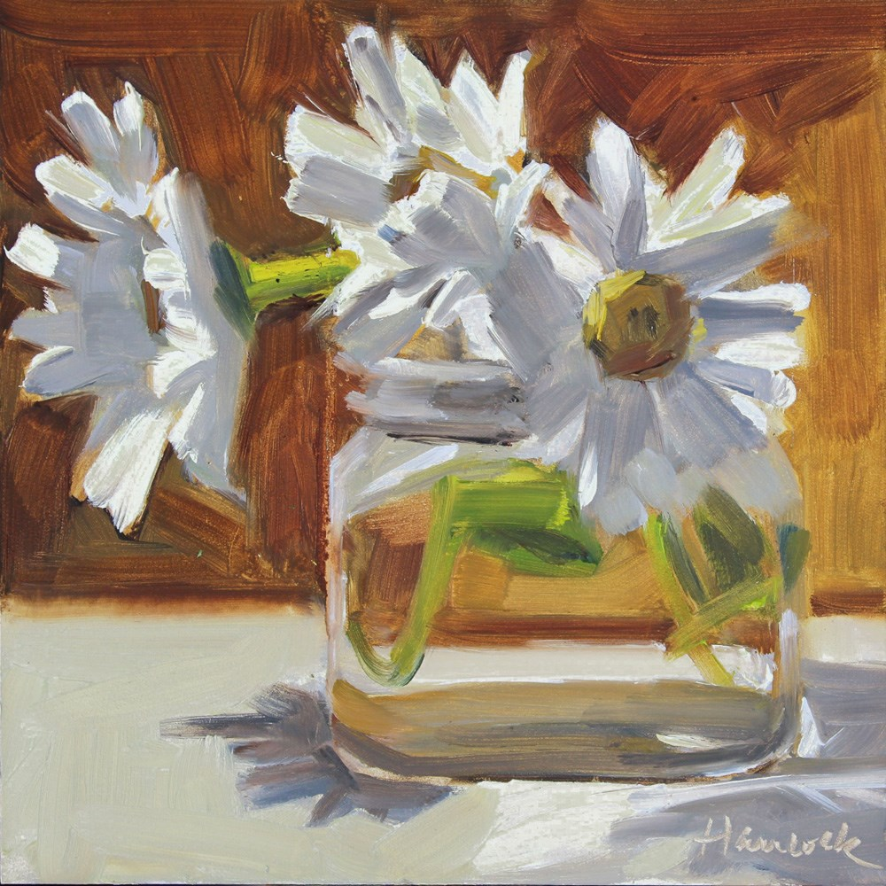 """Daisies in a Square Glass Jar on Burnt Sienna"" original fine art by Gretchen Hancock"