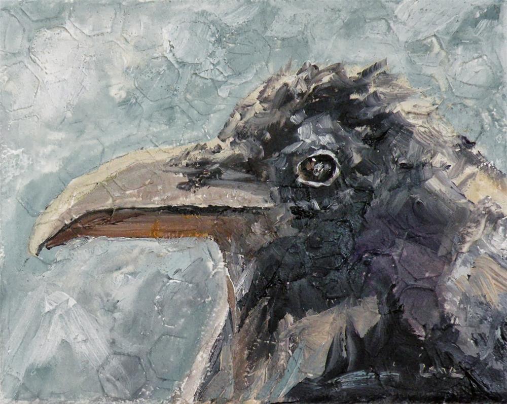 """ROAD WARRIOR A RAVEN ORIGINAL OIL ON DEEP GALLERY WRAP CANVAS © SAUNDRA LANE GALLOWAY"" original fine art by Saundra Lane Galloway"