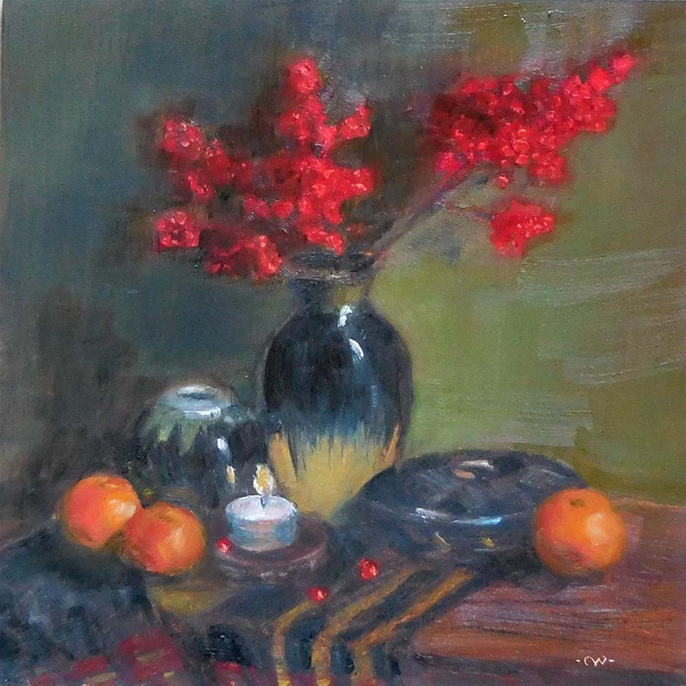 """Winter Berries"" original fine art by Cietha Wilson"