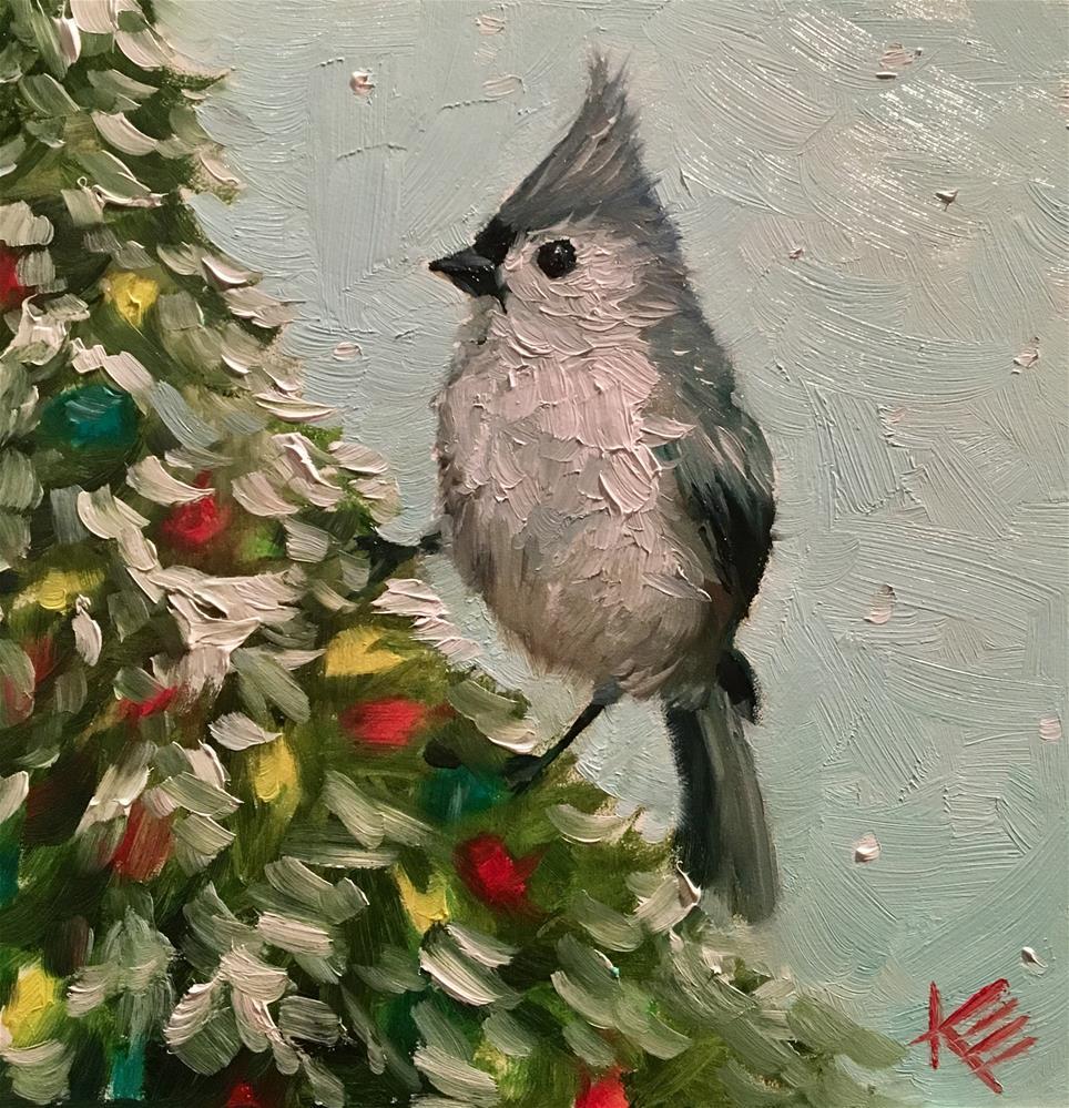 """Christmas Bird"" original fine art by Krista Eaton"