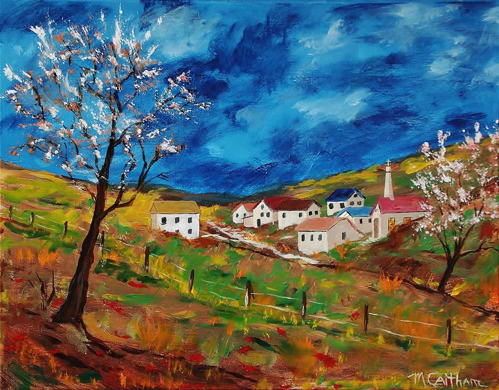 """""""Little Village in the Valley"""" original fine art by Mike Caitham"""