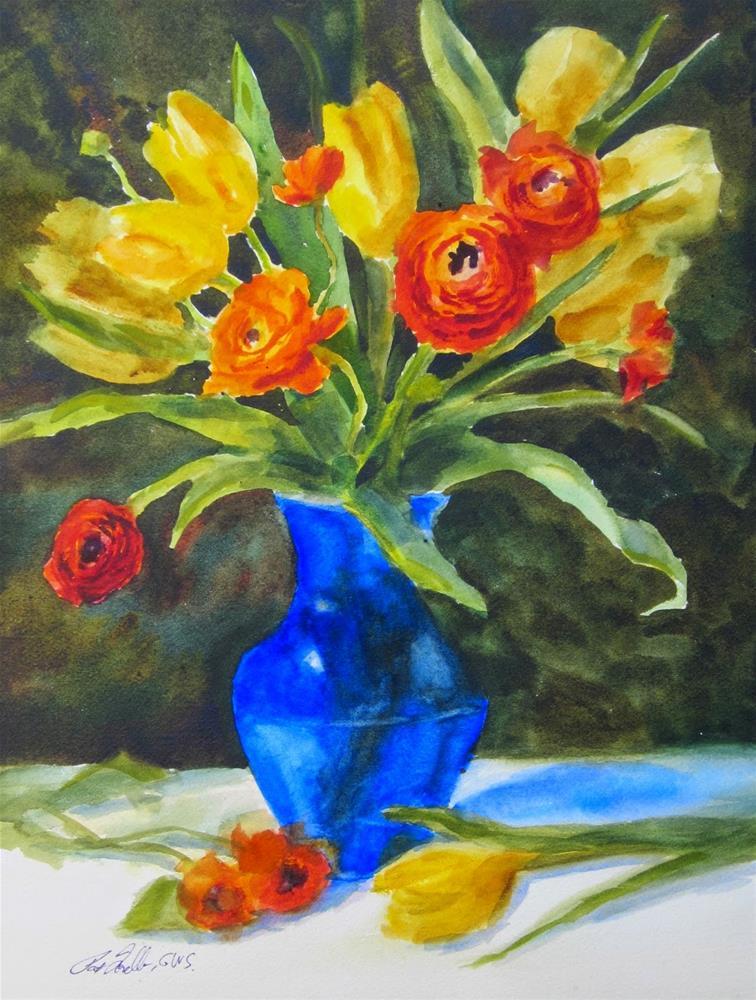 """Tulips and Ranunculus- class demo"" original fine art by Pat Fiorello"