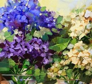 """Farm Fresh Hydrangeas"" original fine art by Nancy Medina"