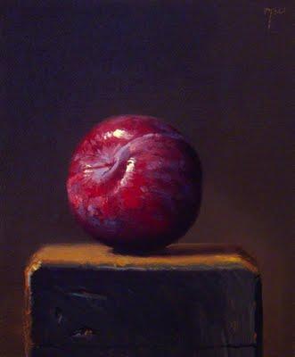 """Plum on a Wood Block"" original fine art by Abbey Ryan"
