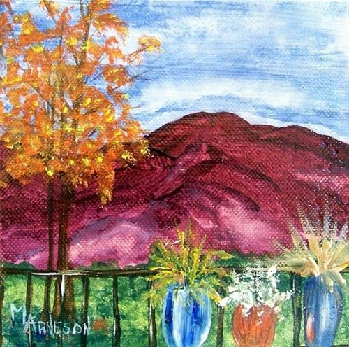 """""""Two Piece Landscape Oil Painting Through Rose Colored Glasses  by Mary Arneson Art-Works of Whimsy"""" original fine art by Mary Arneson"""