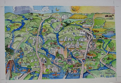 """""""Austin Watershed Project"""" original fine art by V.... Vaughan"""